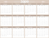 2009 Year calendar. Horizontal, plain, working style vector illustration