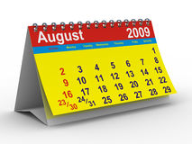 2009 year calendar. August. Isolated 3D image stock illustration