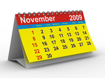 2009 year calendar. November. Isolated 3D image stock illustration