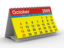 2009 year calendar. October. Isolated 3D image vector illustration