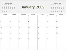 2009 Year Monthly calendar. With previous and next months. Start of week Monday royalty free illustration