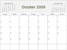 2009 Year Monthly calendar. With previous and next months. Start of week Monday Royalty Free Stock Image