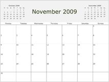 2009 Year Monthly calendar Royalty Free Stock Photography