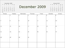 2009 Year Monthly calendar. With previous and next months. Start of week Monday stock illustration