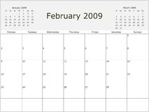 2009 Year Monthly calendar. With previous and next months. Start of week Monday vector illustration