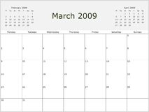 2009 Year Monthly calendar. With previous and next months. Start of week Monday Stock Image