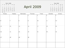 2009 Year Monthly calendar. With previous and next months. Start of week Monday Stock Photos