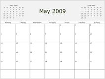 2009 Year Monthly calendar. With previous and next months. Start of week Monday Stock Images
