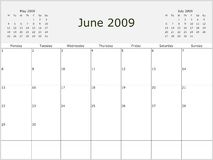 2009 Year Monthly calendar. With previous and next months. Start of week Monday Royalty Free Stock Photo