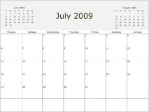 2009 Year Monthly calendar. With previous and next months. Start of week Monday Royalty Free Stock Photography