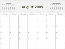 2009 Year Monthly calendar. With previous and next months. Start of week Monday Royalty Free Stock Photos