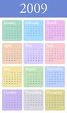 2009 yearly Calendar in pastel Stock Images