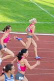200m heat (women). Olympics champion Yuliya Gushchina (81, first one running) at international competitions Moscow Open 2009 Royalty Free Stock Images