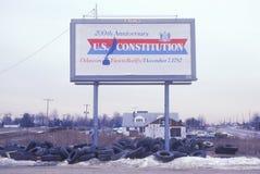 200th Signe de constitution des États-Unis d'anniversaire Image stock