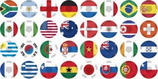 201个按钮托起标志国家贴纸世界 向量例证