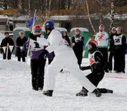 2010个冠军芬兰雪球yukigassen 免版税库存照片