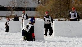 2010个冠军芬兰雪球yukigassen 免版税图库摄影