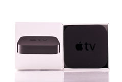2010年苹果新的电视 免版税库存图片
