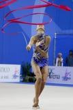 2010年daria dmitrieva体操运动员pesaro节奏性wc 库存图片