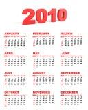 2010 английских языков календара Стоковая Фотография