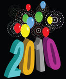 2010 2. Vector illustration motif of colorful balloons and fireworks for the new years eve celebration of the year 2010 Stock Photos