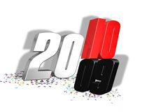 2010 2009. 3D 2010 replacing 2009 in red, silver an black Royalty Free Stock Images