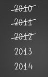 2010, 2011, 2012 crossed and new years 2013, 2014. 2012 crossed and new year 2013 written on chalkboard Stock Images