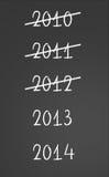 2010, 2011, 2012 cruzados y Años Nuevos 2013, 2014 Imagenes de archivo