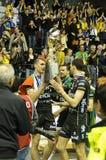 2010 2011 cev kämpar för ligasalva för final fyra Royaltyfria Foton