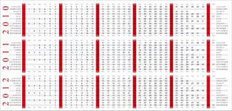 2010 2012 kalendarz Zdjęcia Stock