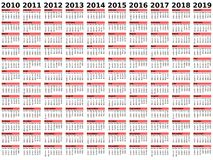 2010 2019 calendar årtionde Arkivbild