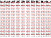 2010-2019 calendario di decade Fotografia Stock