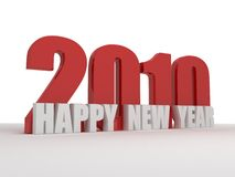 2010 3d happy new year greeting text. 3d happy new year greeting including 2010 in the design, white and red royalty free illustration