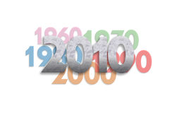 2010_5. An image that represents a new decade, 2010, and indicates several decades back to 1960 royalty free illustration