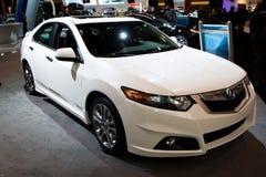 2010 Acura branco TSX na auto mostra de Toronto Fotos de Stock