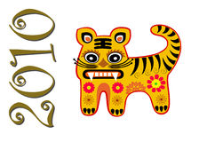 2010 anni di cartolina d'auguri della tigre Fotografie Stock