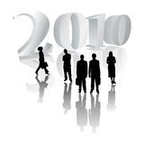 2010 business people. 2010 with business people and reflections royalty free illustration