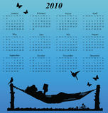 2010 calendar. With woman reading in a hammock stock illustration