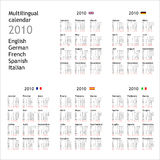 2010 Calendar. 2010 multilingual calendar in English German French Spanish Italian Royalty Free Stock Image