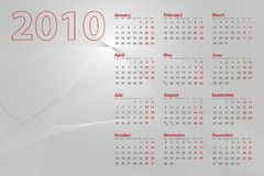 2010 Calendar Abstract. 2010 calendar on abstract background with lines and waves, silver tones stock illustration