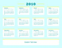 2010 Calendar Aqua Yellow Stock Image