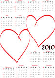 2010 calendar with blank hearts. For lovers photos. Vertical orientation, starts Sunday Royalty Free Stock Images