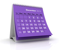 2010 Calendar. December. 3D desktop calendar December 2010 in white background Stock Photos