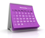 2010 Calendar. November. 3D desktop calendar November 2010 in white background Stock Photo