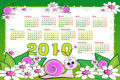 2010 calendar with snails. Flowers and leaves. Kids illustration style Stock Photography