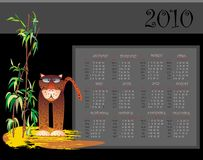 2010 calendar with tiger. Vector calendar month day illustration tiger Stock Images
