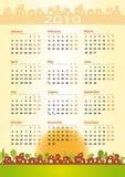 2010 calendario - tema de la construcción ilustración del vector