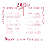2010 calendrier - conscience de cancer du sein Photographie stock libre de droits