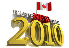 2010 canada flag. Happy new year 2010 with canada flag Royalty Free Illustration
