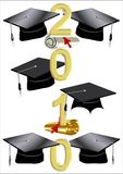 2010 caps and diplomas. Grad caps on white with diplomas for 2010 class in 3d Stock Image